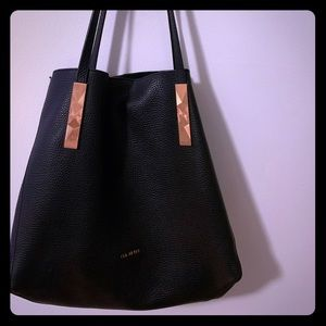 Ted Baker black leather tote - 10/10 condition!